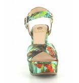 La Strada Groene bloemen print sleehak sandalen met kruisbanden
