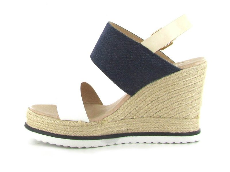 La Strada Witte/jeanslook sandalen