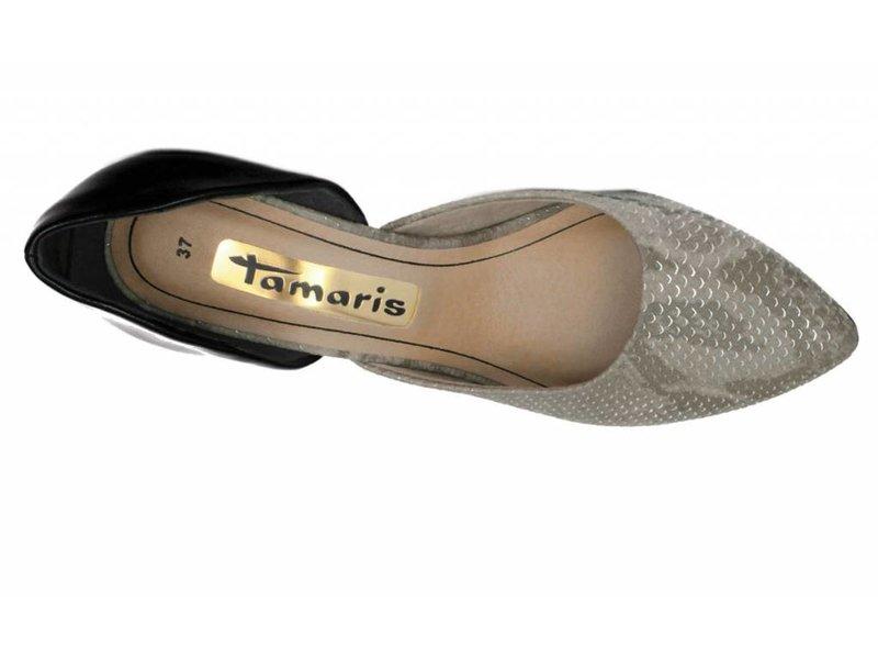 Tamaris spitse pumps grijs zwart