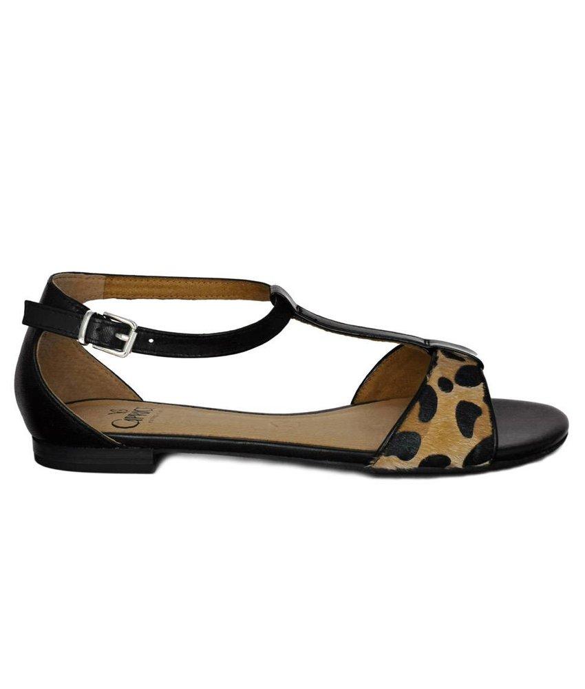Caprice sandalen leder zwart leopard