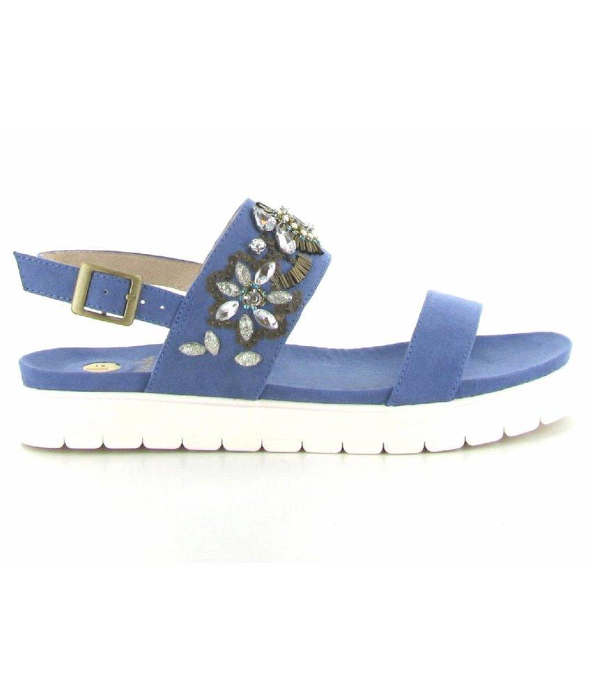 La Strada Blauwe suedelook sandalen
