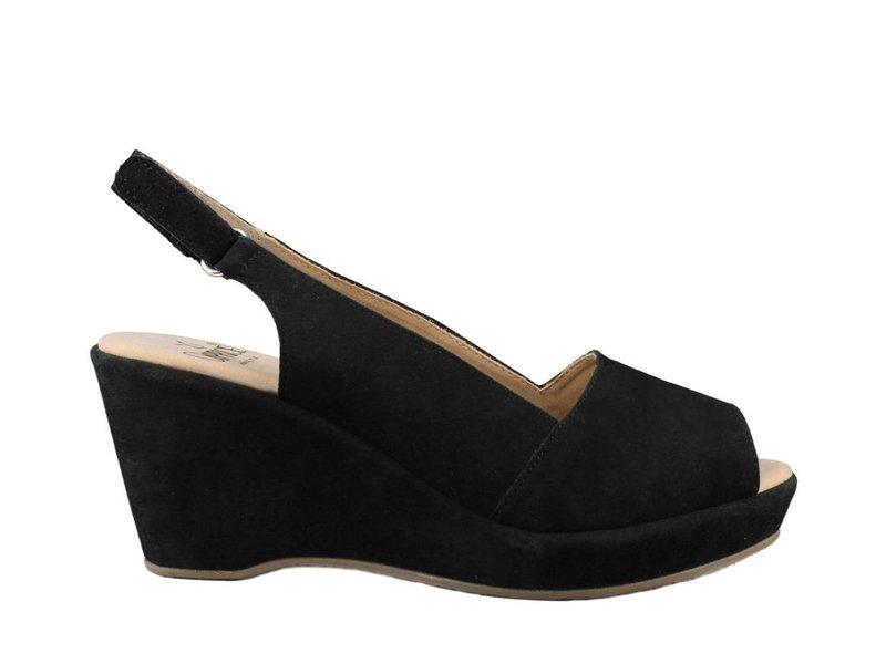 Caprice sandalen zwart suède