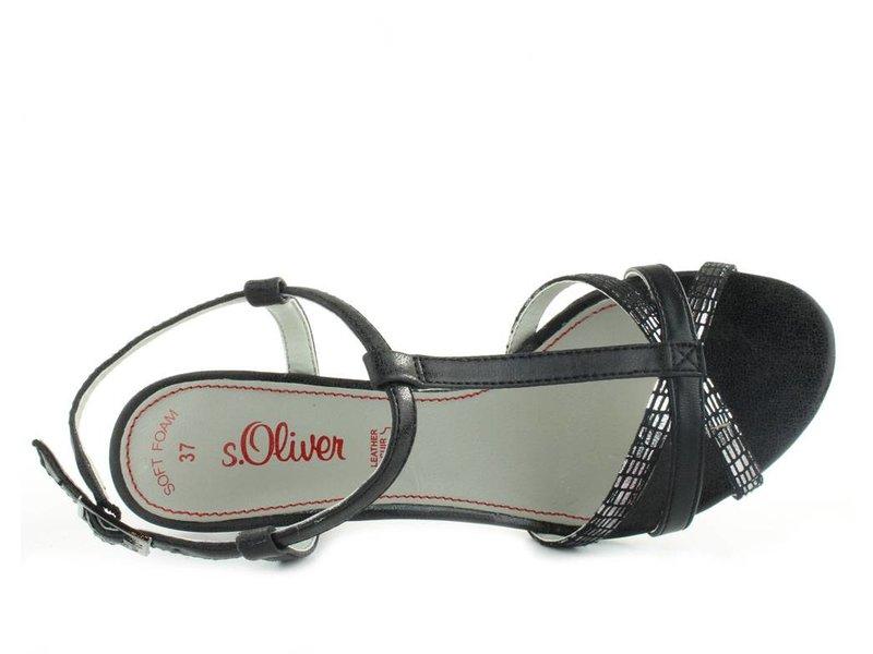 s.Oliver Sandalen zwart zilver