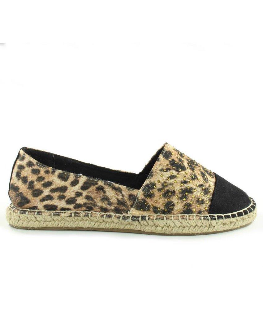 La Strada Espadrilles zwart leopard
