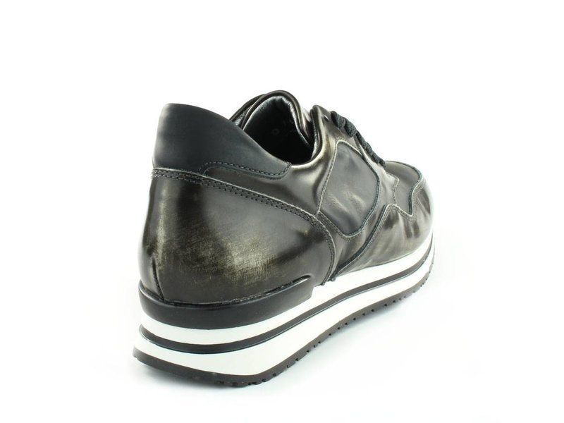 HIP Sneakers leder donker zilver