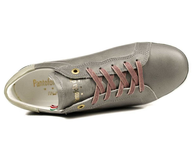 Pantofola d'Oro sneakers zilvergrijs/ taupe leder