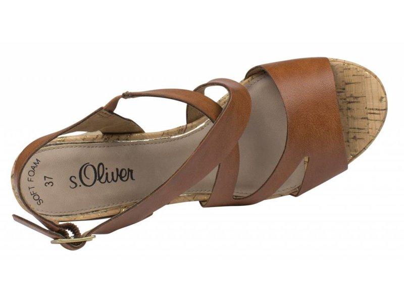 s.Oliver sandalen cognac