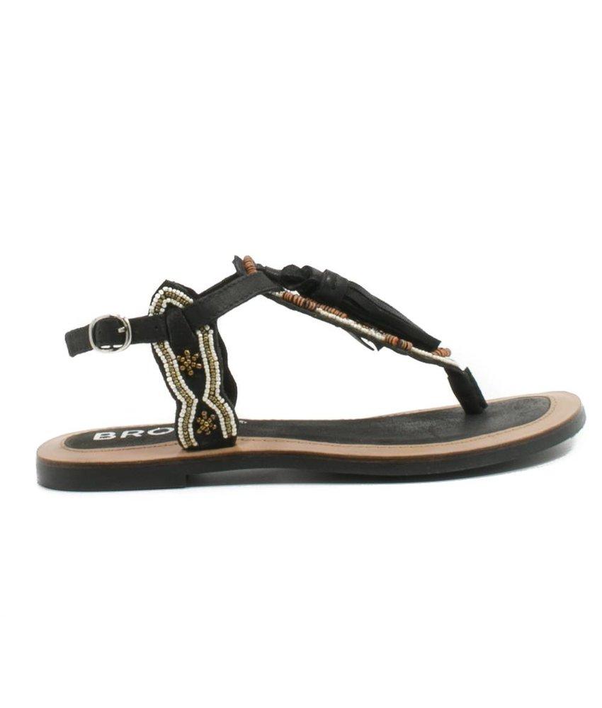 Bronx Sandalen zwart met kraaltjes
