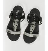Vingino Leren meiden sandalen zwart / grijs