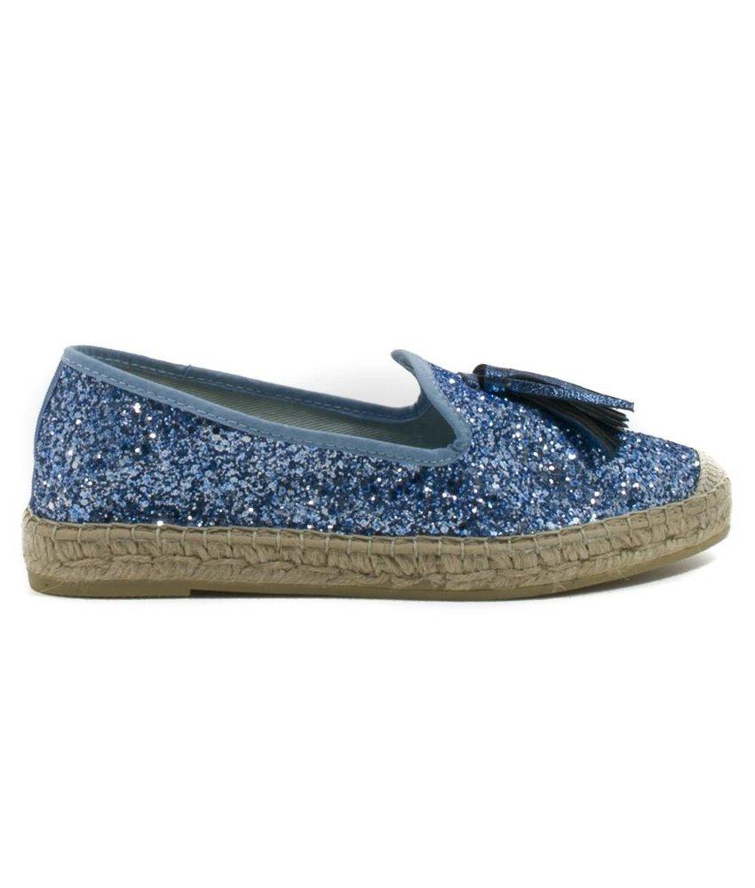 Vidorreta Glitter instap espadrilles blauw