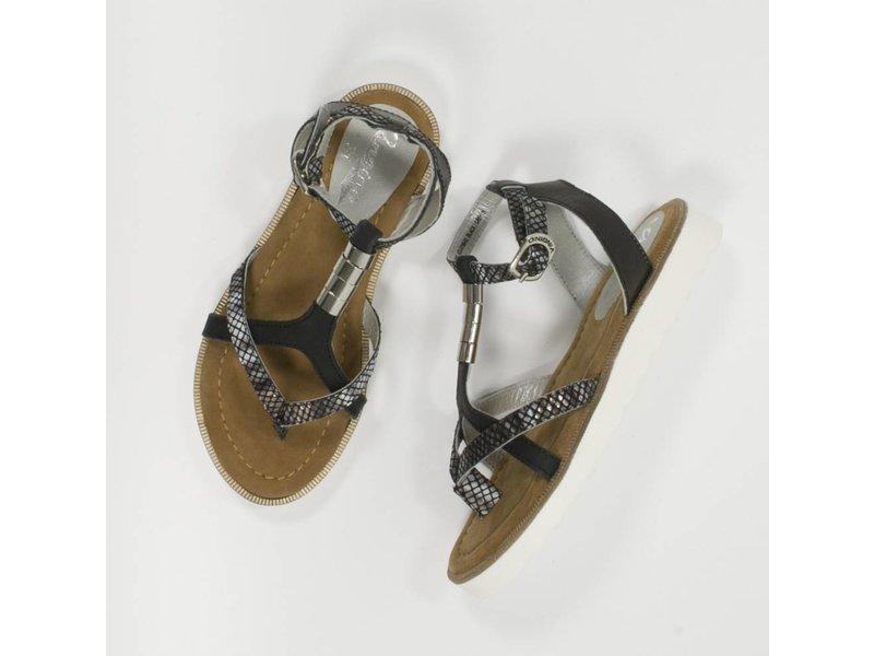 Vingino Hippe zwart/ grijze meiden sandaaltjes leder