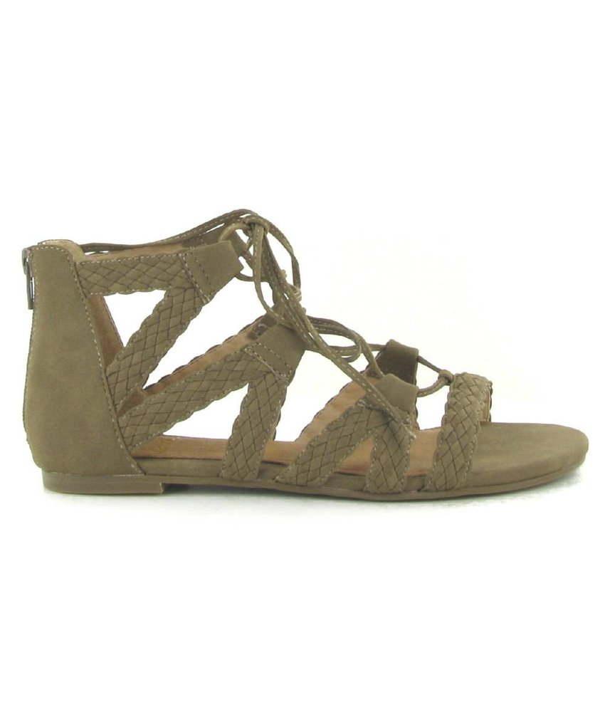 La Strada platte sandalen taupe