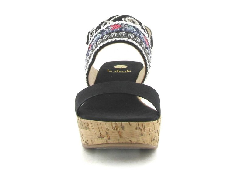 La Strada sleehak sandalen zwart