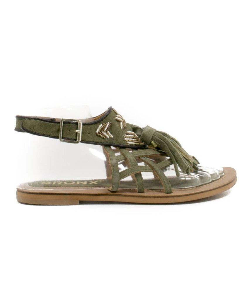 Bronx leder sandalen olijfgroen