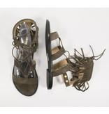 Bronx fringe sandalen leder mosgroen