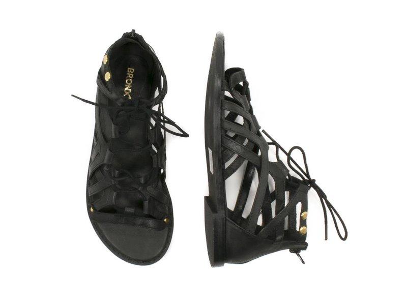 Bronx gladiator zwarte sandalen leder