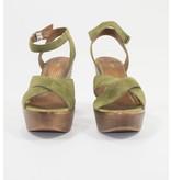 Marco Tozzi sleehak sandalen suède groen