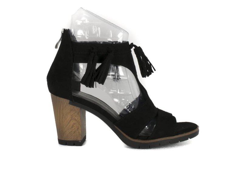 Marco Tozzi Zwarte sandalen fringes