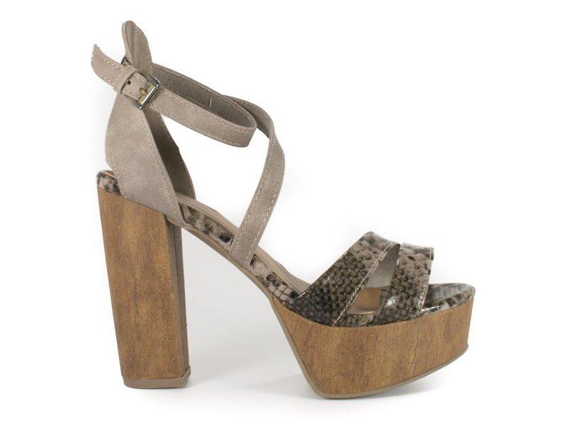 Marco Tozzi sandalen met hoge hak taupe