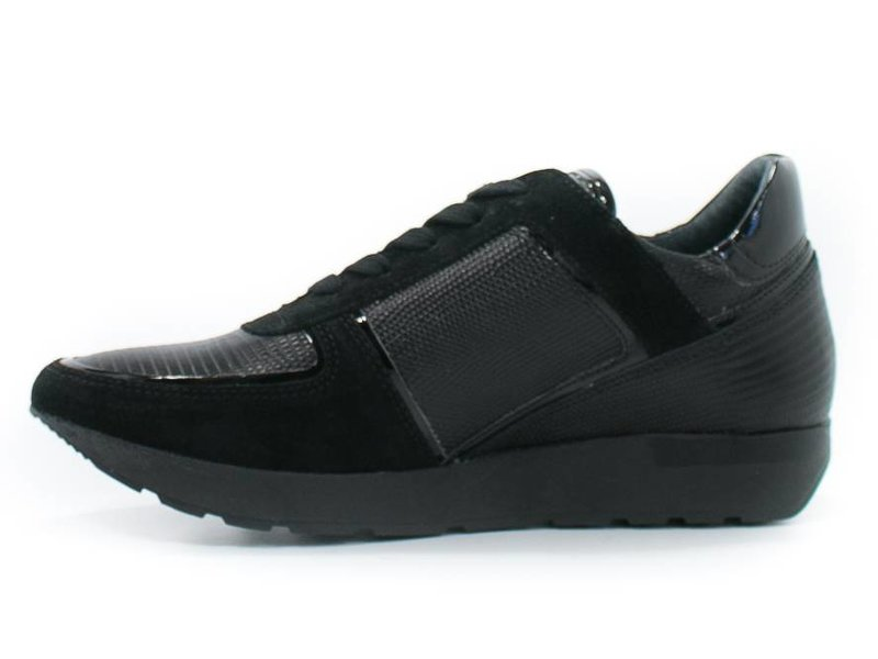 HIP zwarte sneaker suède en lakleder