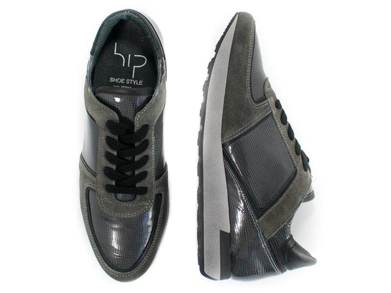 HIP grijze sneaker suède en lakleder
