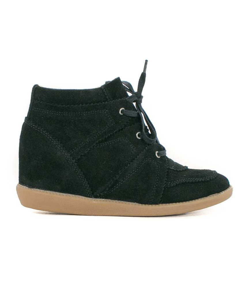 ShoeColate Veterschoenen wedge hak zwart