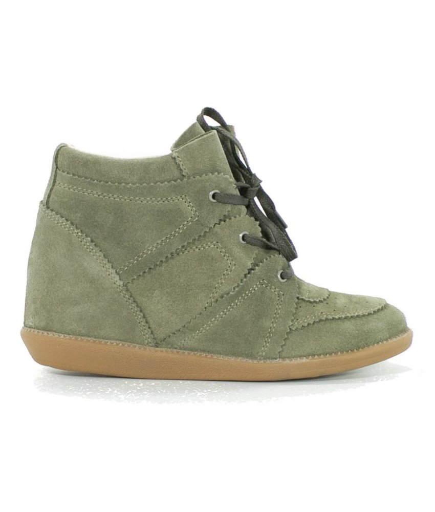 ShoeColate Suede veterschoen wedge hak