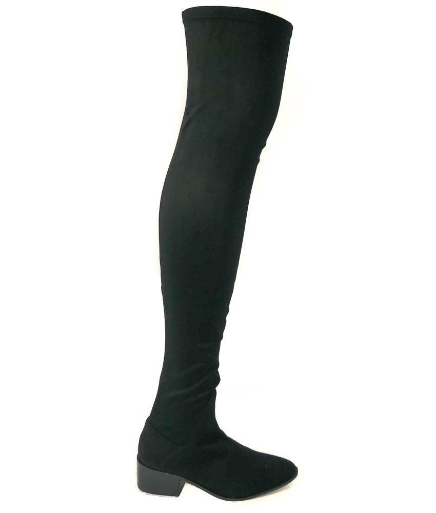 INUOVO overknee laarzen suedelook zwart