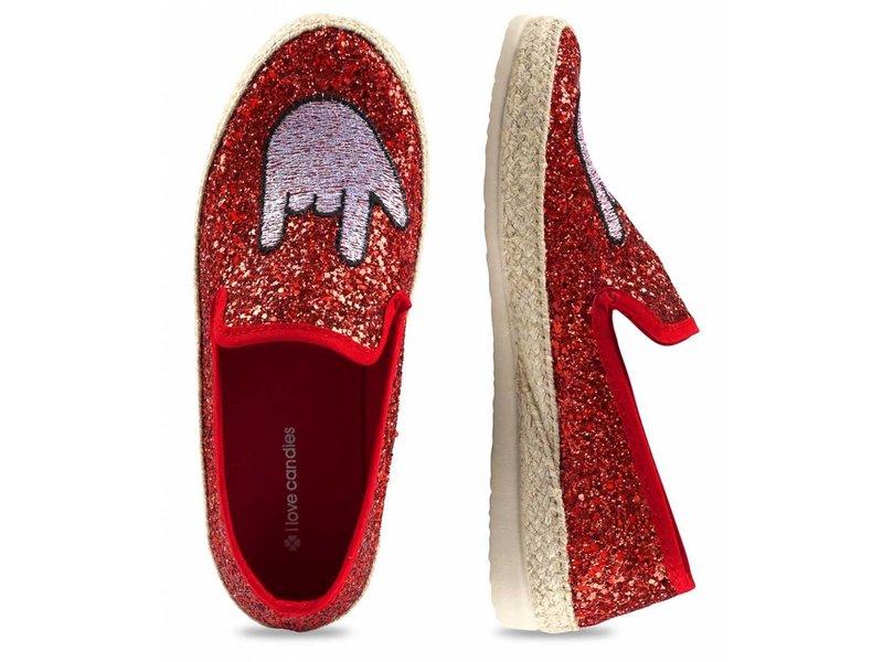I Love Candies Glitter espadrilles rood
