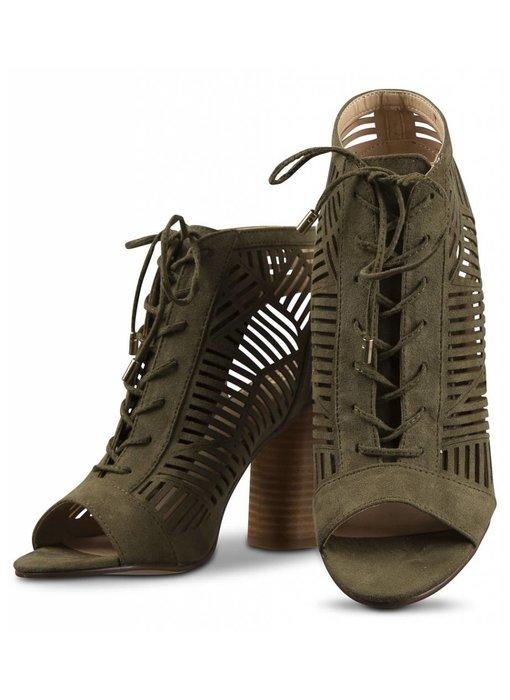 La Strada Kaki blokhak sandalen