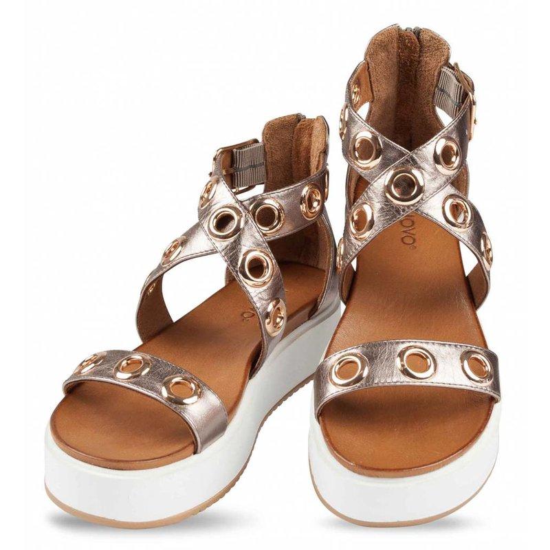 INUOVO platte sandalen leder pewter