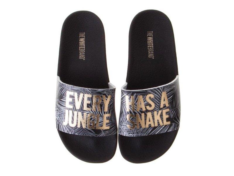 The White Brand slippers zwart snake