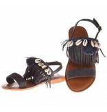 L'Atelier Tropezien sandalen blauw boho fringes