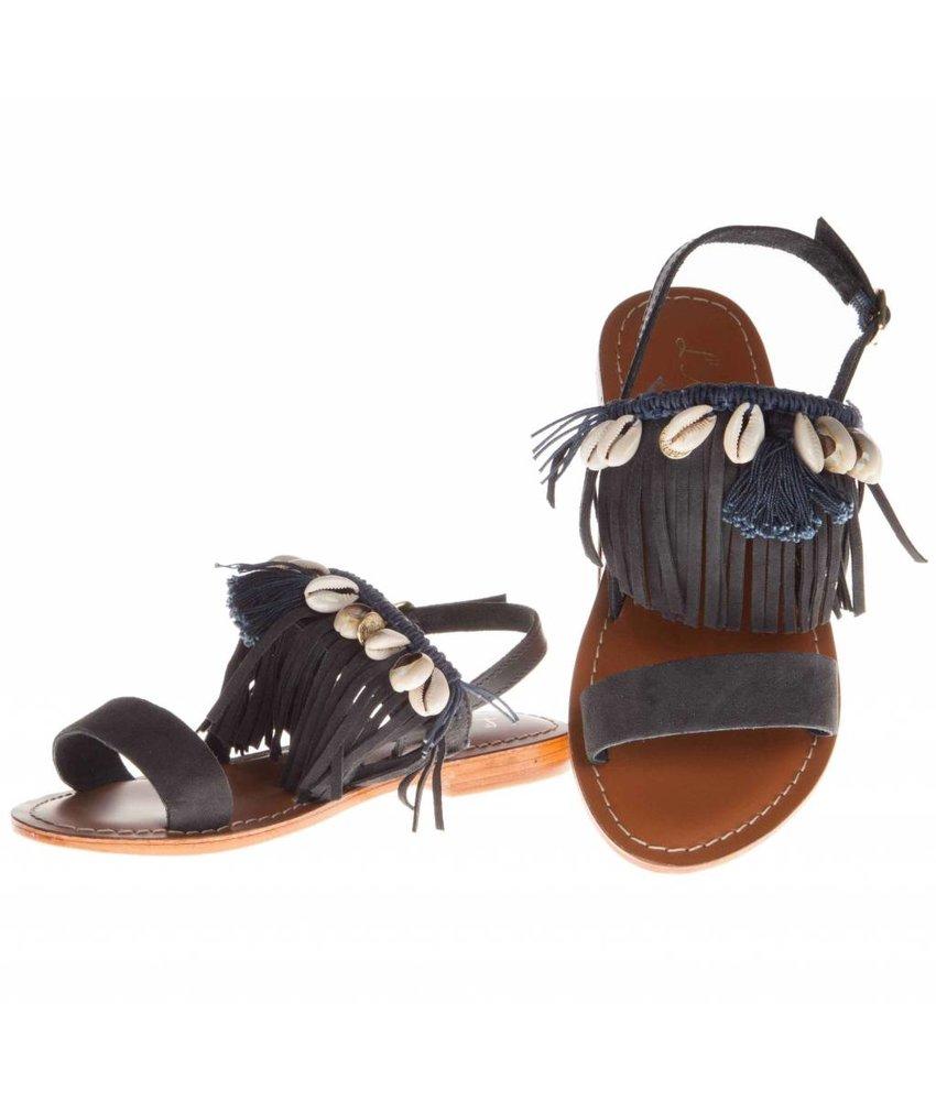 L'Atelier Tropezien sandalen blauw fringes