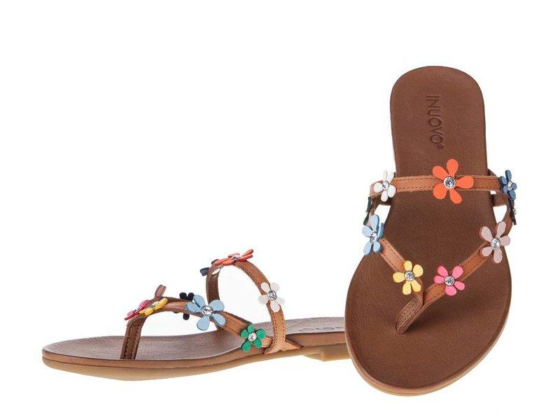 INUOVO sandalen gekleurde bloemen leder