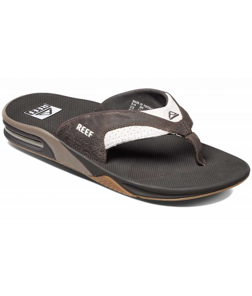 REEF slippers leather fanning white/brown