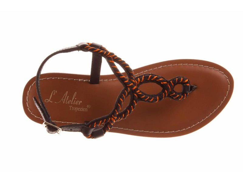 L'Atelier Tropezien sandalen zwart oranje