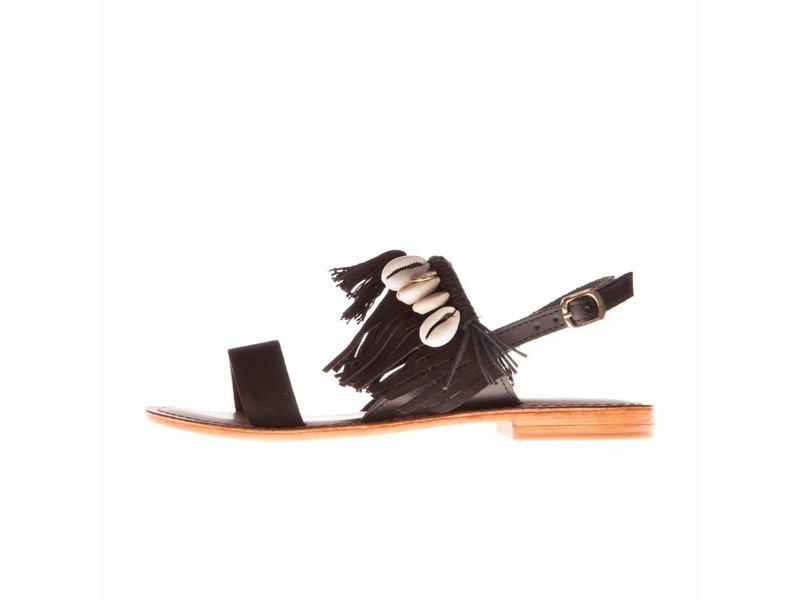 L'Atelier Tropezien sandalen zwart fringes