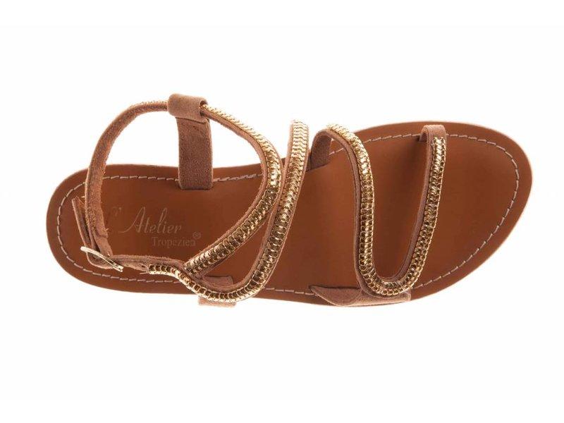 L'Atelier Tropezien sandalen lichtbruin goud