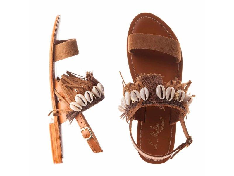 L'Atelier Tropezien sandalen lichtbruin fringes