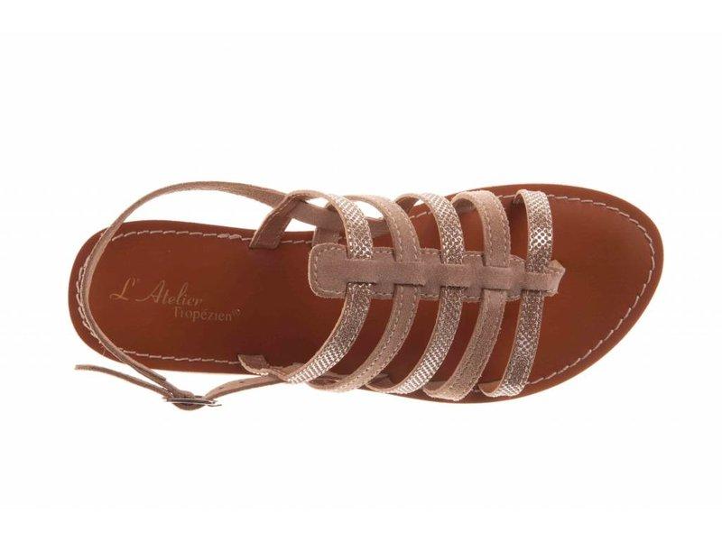 L'Atelier Tropezien sandalen taupe glitter