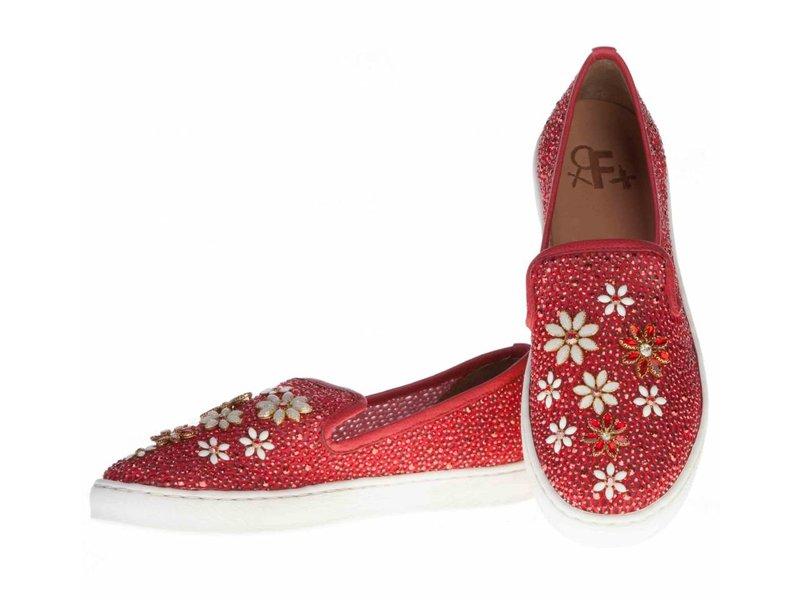 La Femme Plus instappers rood met bloemen