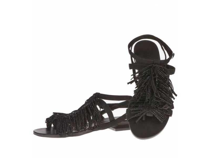 La Femme Plus sandalen fringes zwart met steentjes