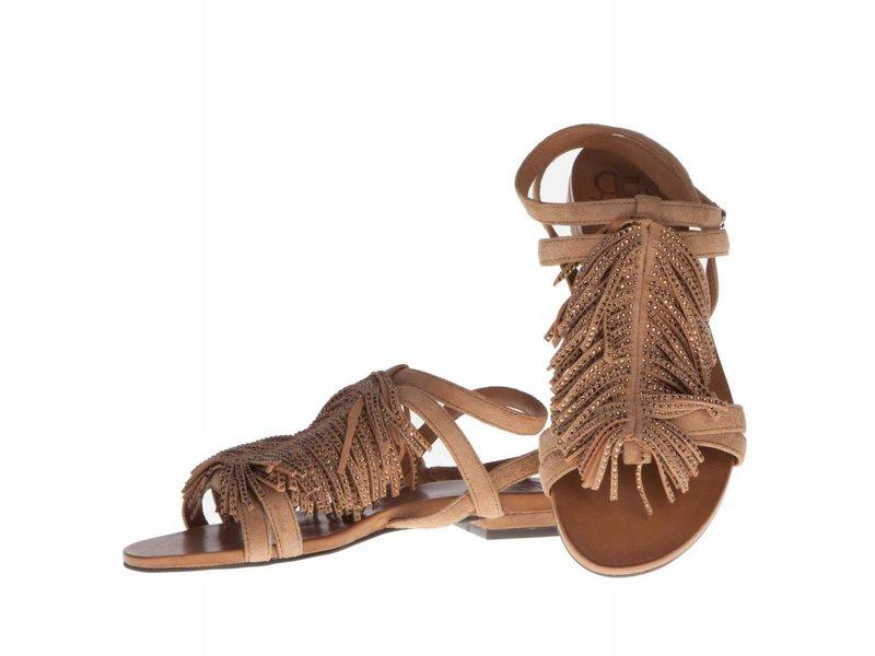 La Femme Plus sandalen fringes bruin met steentjes