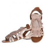 La Femme Plus sandalen fringes beige met steentjes