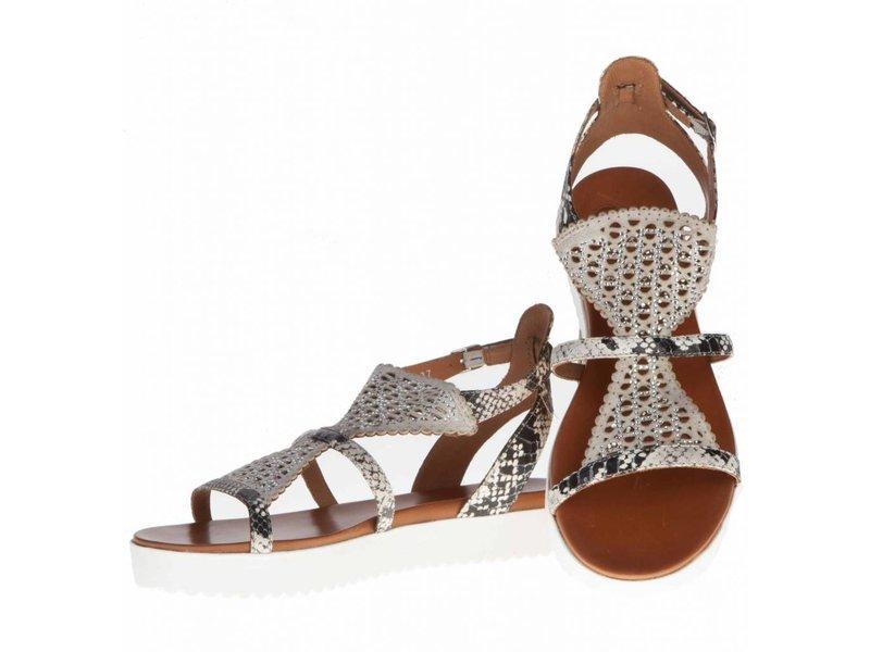 La Femme Plus sandalen suede python grijs met steentjes
