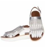 La Femme Plus sandalen leder fringes zilver en wit