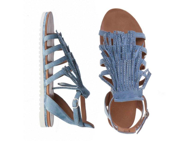 La Femme Plus sandalen suede denim blauw met steentjes