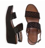 La Femme Plus sleehak sandalen suede zwart met steentjes