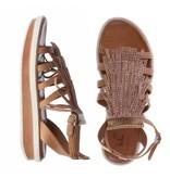 La Femme Plus sandalen suede bruin met steentjes